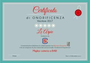 """""""Miglior osteria a Bari 2017"""""""