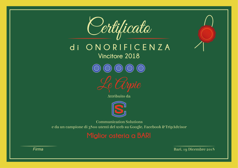"""""""Miglior osteria a Bari 2018"""""""